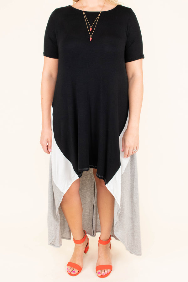 dress, high low dress, black, grey, color block