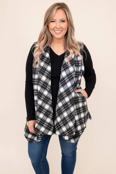 top, vest, plaid, grey, ivory, sleeveless, layer, winter, warm, casual