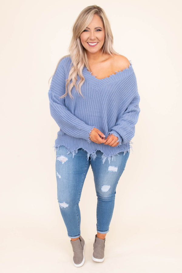 sweater, long sleeve, vneck, frayed hems, short, cable knit, blue, comfy, fall, winter