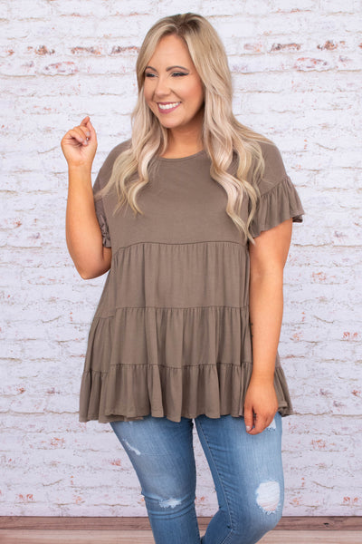 tunic, short sleeve, ruffle sleeves, babydoll, tiered, flowy, long, mocha, comfy
