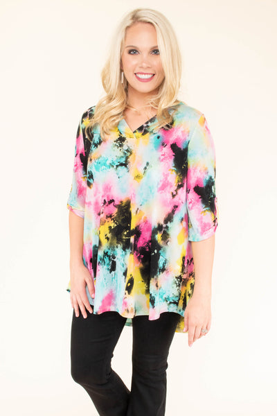 top, tunic, tie dye, multi, v neck, black, mint, pink, yellow, three quarter sleeve