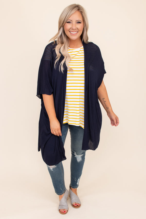 kimono, neutral, navy, open front, basic, short sleeve, long, above the knee, simple, outerwear