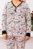 shirt, loungewear, long sleeve, vneck, quarter button down, white, love, hearts, black, white, black cuffs, comfy, valentines