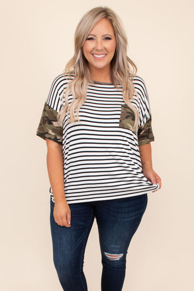 top, casual top, green, camoflauge, short sleeve, striped, olive, white, black