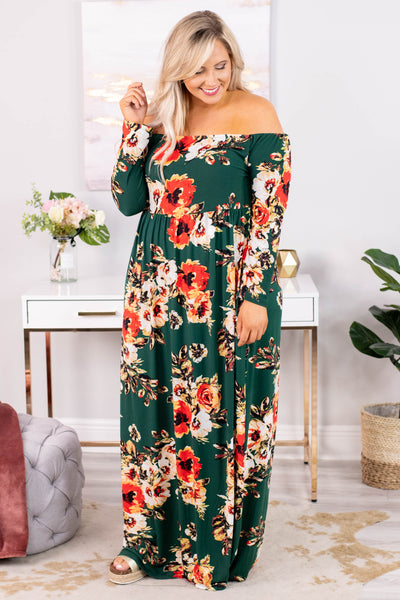 dress, maxi, long sleeve, off the shoulder, flowy, fitted, top, green, floral, red, white, tan, comfy