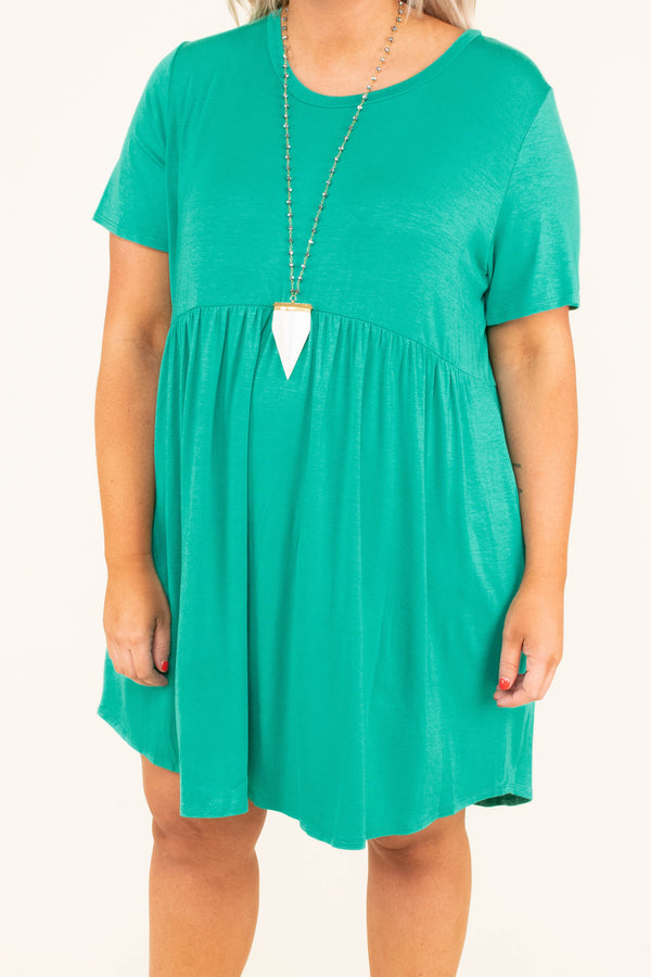 dress, emerald, babydoll dress, flowy, comfy, short sleeve