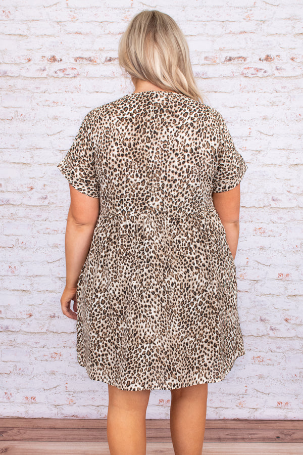 leopard, print, short sleeve, baby doll, short sleeve, figure flattering, v neck, short, above the knee, dress