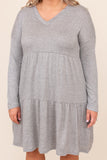 dress, casual dress, grey, heather grey, solid, long sleeve, winter, warm, casual, layer, plain