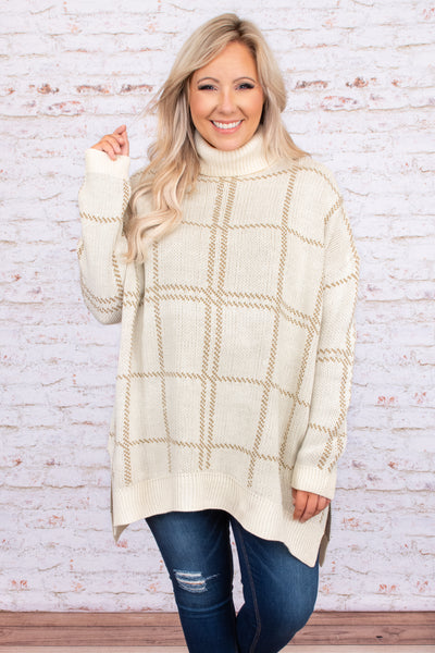 top, sweater, cream, taupe, grid, pattern, turtle neck, long sleeve, over sized, comfy