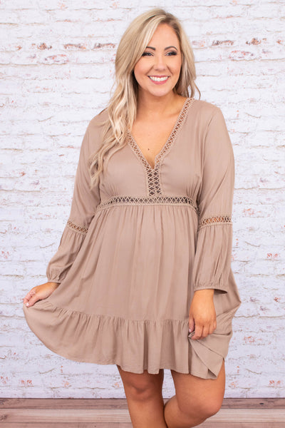 dress, short, long sleeve, vneck, fitted top, flowy skirt, ruffle hem, lace details, taupe, comfy