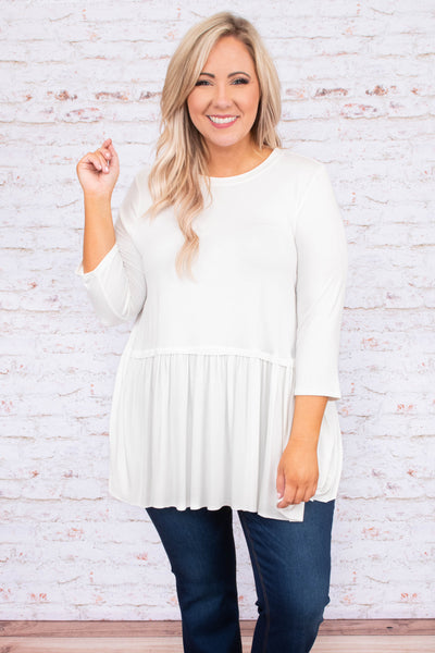 tunic, three quarter sleeve, long, babydoll, flowy, white, comfy