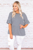 Finding Peace Top, White-Navy