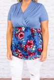 shirt, short sleeve, vneck, wrap top, curved hem, fitted, blue, solid top, floral, red, green, comfy