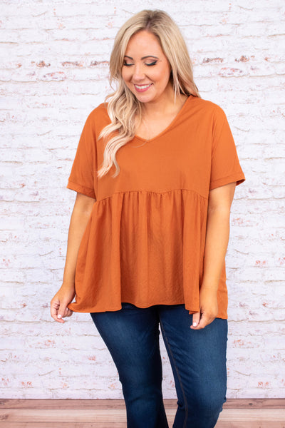 shirt, short sleeve, vneck, long, babydoll, flowy, orange, comfy