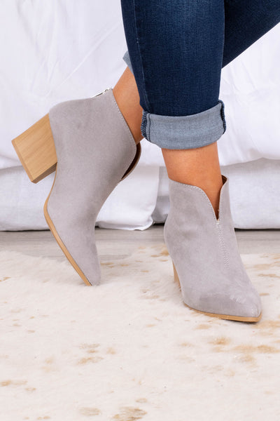 shoes, boots, booties, grey, tan sole, block heel