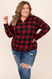 top, hoodie, pullover, red, black, plaid, long sleeve, zip up