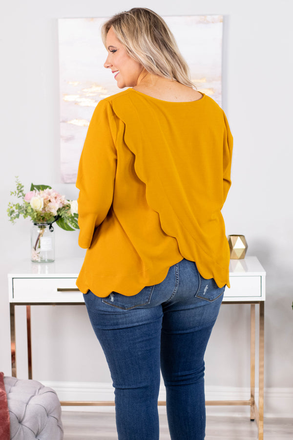 shirt, three quarter sleeve, mustard, scallop hem, flowy, cross back detail