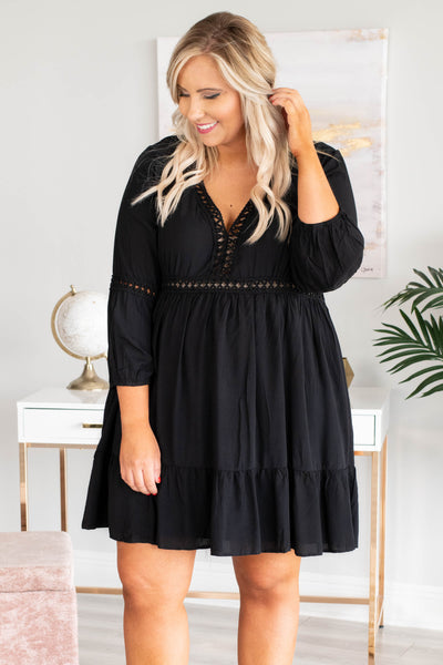 dress, short, three quarter sleeve, vneck, stitched detail, flowy, black, solid, comfy