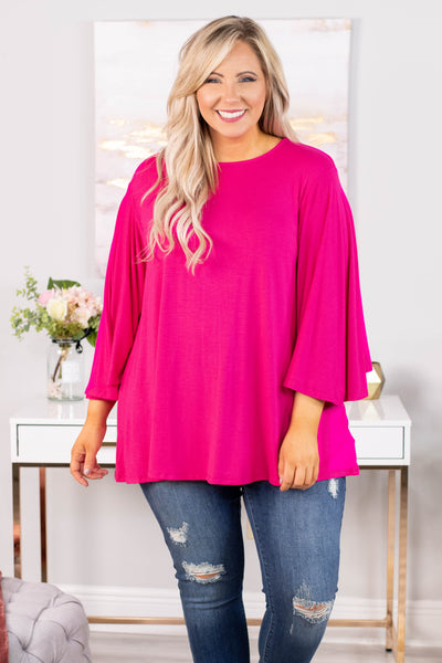 shirt, long sleeve, bell sleeves, flowy, fuchsia, comfy, long
