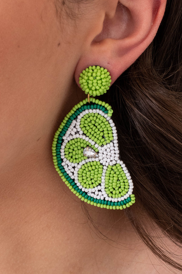 earrings, dangly, lime slices, beaded, green, white