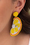 earrings, dangly, lemon slices, beaded, yellow, orange, white