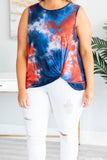 top, tank top, twist hem, royal, navy, red, ivory, tie dye