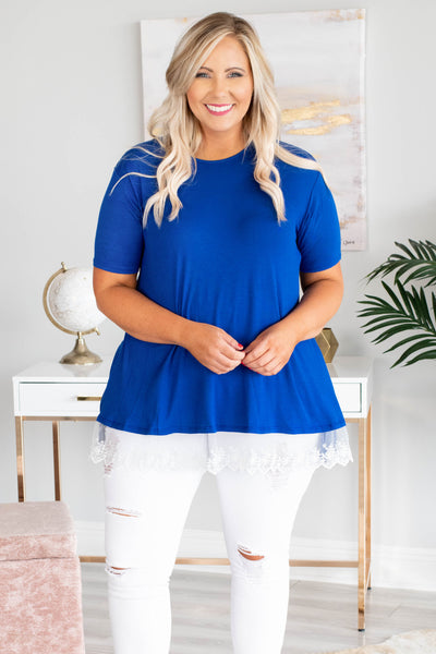 top, royal blue, lace trim, short sleeve, flowy
