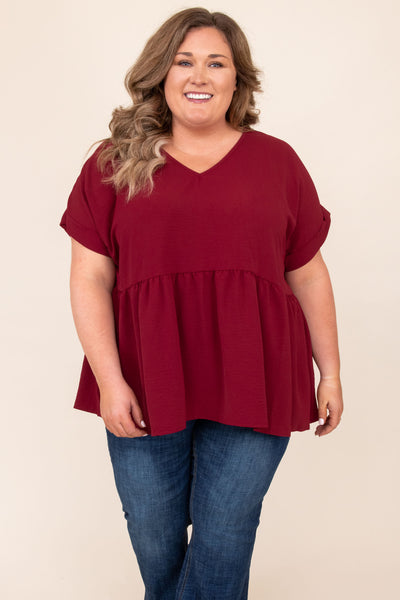 top, basic, babydoll top, solid, short sleeve, ruby, red, comfy, flowy