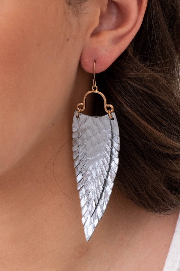 earrings, dangly, faux leather, feathers, gray, gold hardware