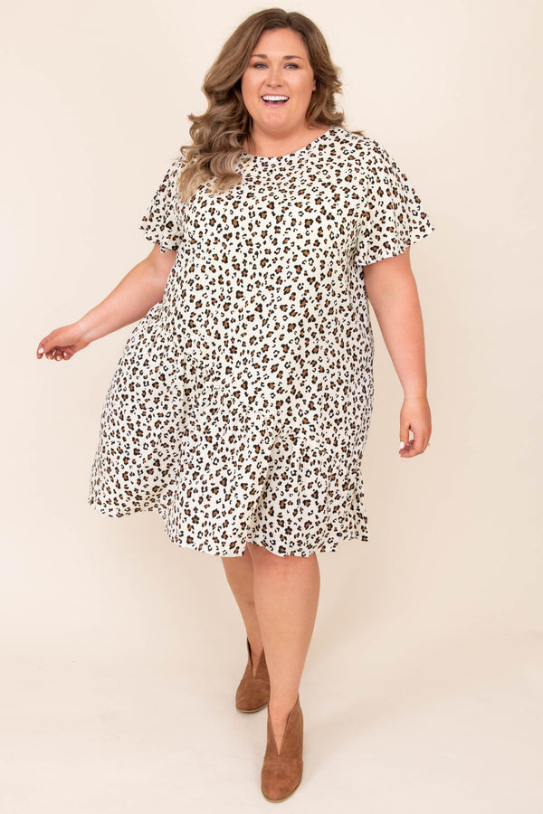 dresses, casual dress, white, leopard, short sleeve, flowy, knee length