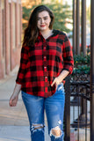 top, long sleeve, button down, red, black, buffalo plaid