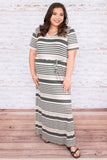 dress, maxi, short sleeve, vneck, tied waist, flowy, gray, white, striped, comfy