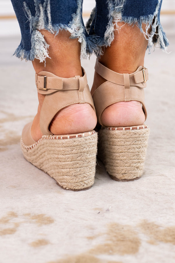 wedges, rope heels, open toed, open heeled, ankle strap, taupe