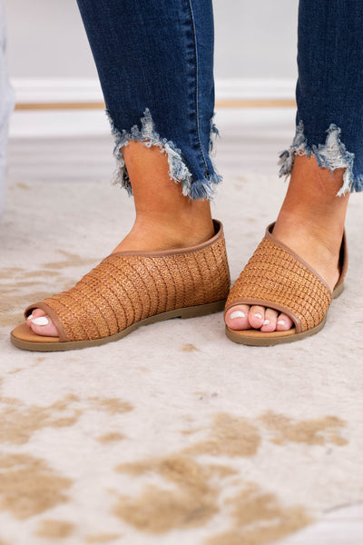 sandals, peep toe, closed heel, open side, basket weave material, tan