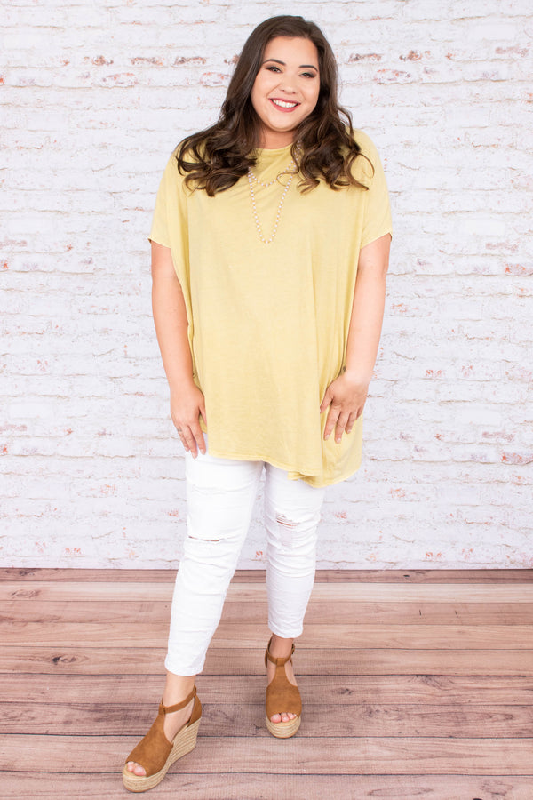 top, short sleeve, asymmetrical. lemon, flowy, yellow