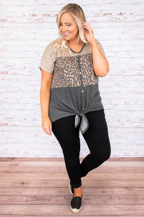 top, causal top, tie top, color block, leopard, grey, taupe, brown, short sleeve, button detail