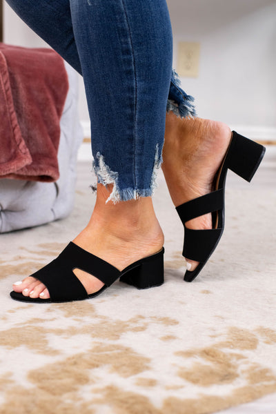 sandals, small heel, open toe, slide ons, open heel, black, triangle side cut outs