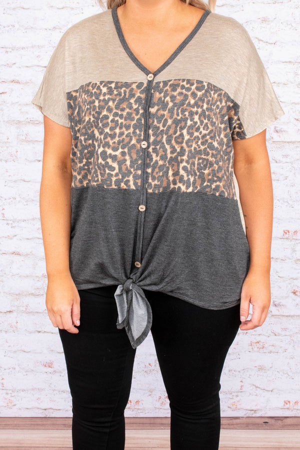 Saturday Night Cruising Top, Taupe