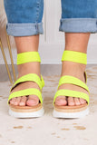 wedges, platform, open toe, open heel, double foot straps, ankle strap, yellow, colorblock heel, tan, white