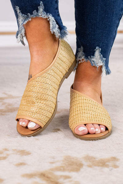 sandals, open toed, open side, basket weave material, spring, summer