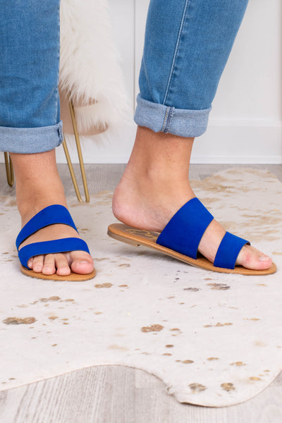 sandals, slide ons, double foot strap, open toe, blue