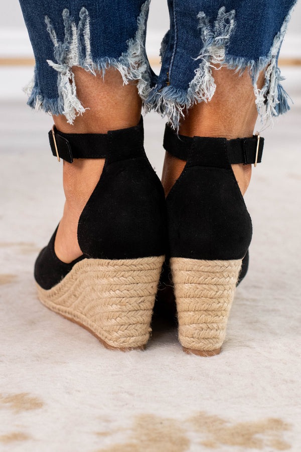 wedges, platform, open toed, closed heel, black, thick foot strap, ankle strap