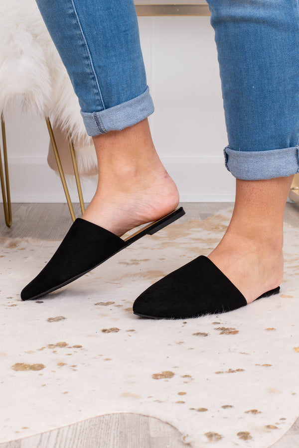 shoes, mules, black, causal, cute