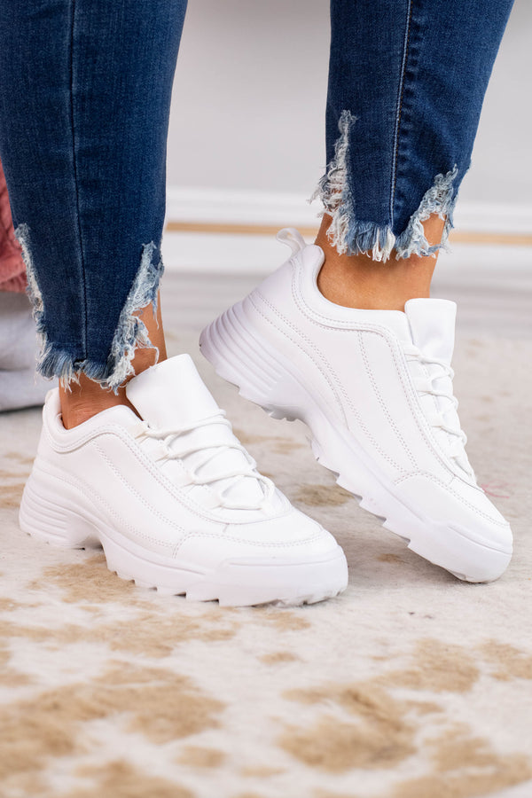 sneakers, lace up, chunky heel, white