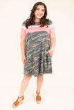 dress, short, short sleeve, color block, white, pink, camo, pockets