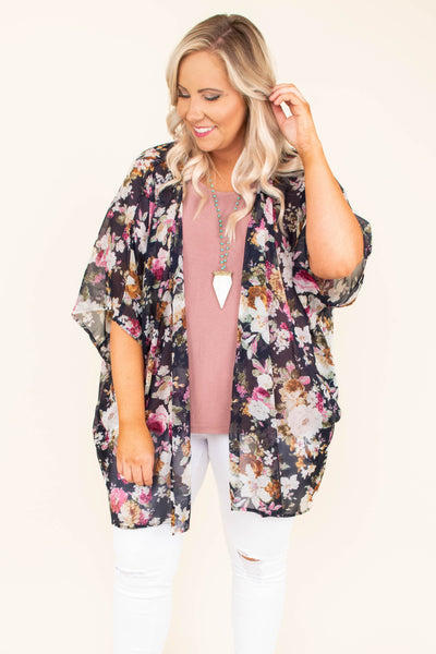 kimono, three quarter sleeve, long, sheer, navy, flora, white, pink, orange, green, comfy, outerwear, spring, summer