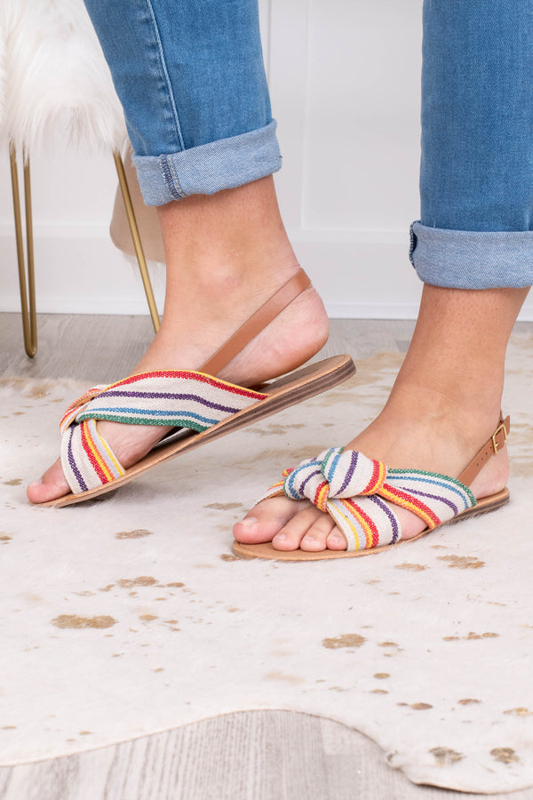 sandals, open toed, open heel, slingback, knotted straps, canvas, white, blue, red, yellow, purple, striped