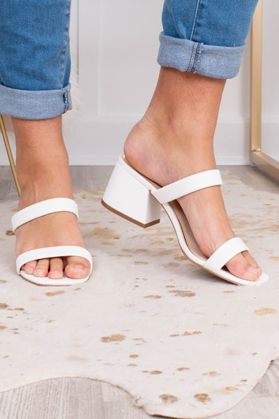 heels, low heel, chunky heel, slide ons, open toe, double foot strap, white