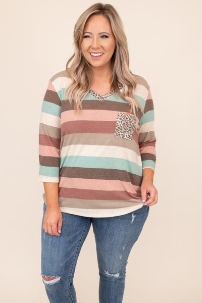 top, casual top, pink, mauve, leopard, stripe, three quarter sleeve, casual, comfy