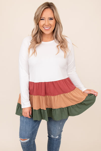 top, casual top, babydoll top, red, brick, meerkat, olive, ivory, colorblock, long sleeve, comfy, casual, warm